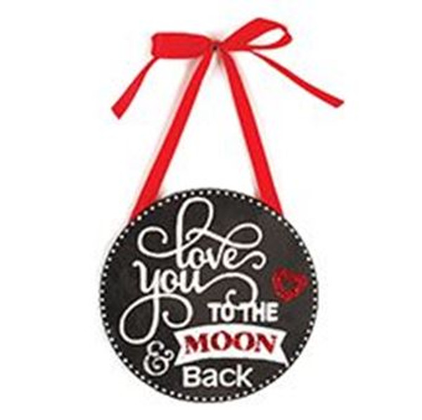 1512-72084 Love You To The Moon Round Hanging Sign - Pack of 9