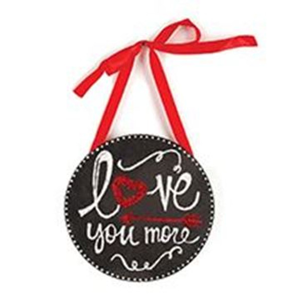 1512-72085 Love You More Round Hanging Sign - Pack of 9