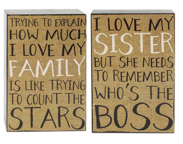 151-39515 Set of 2 Love Sister / Family Wall Box Signs - Pack of 4