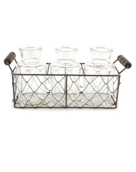 151-71598 Rectangular Mesh Basket With Three Glass Jars - Pack of 5
