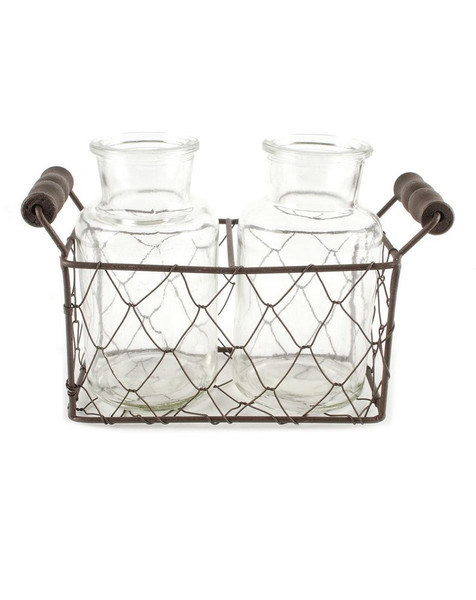 151-71599 Rectangular Mesh Basket With Two Glass Jars - Pack of 6