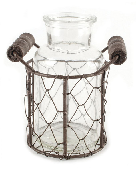 151-71600 Single Wire Basket With One Glass Jar - Pack of 9