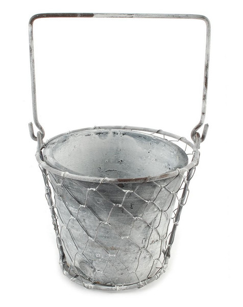 151-71608 Single Metal Planter In Mesh Basket With Handle-Pack of 8