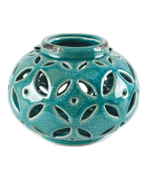 151-71661 Blossom Bucket Round Blue Lantern With Handle - Pack of 3