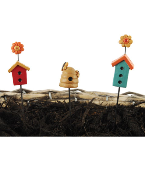 151-89396 Set of 3 Birdhouse Garden Stakes - Pack of 4