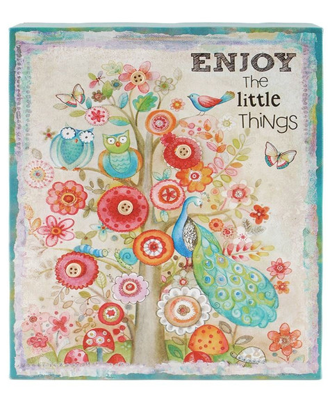 153-39354 Enjoy Floral Canvas Wall Box Sign - Pack of 5