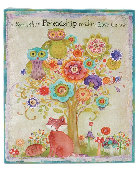 153-39355 Friendship Owl Canvas Wall Box Sign - Pack of 5