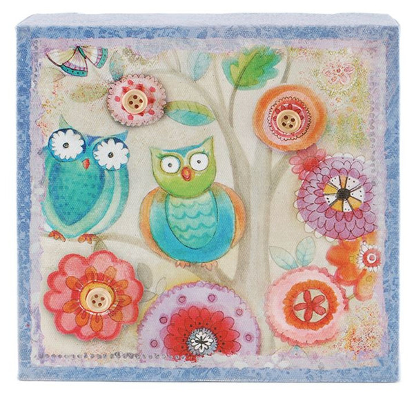 153-39360 Blossom Bucket Owl Canvas Wall Box Sign - Pack of 7