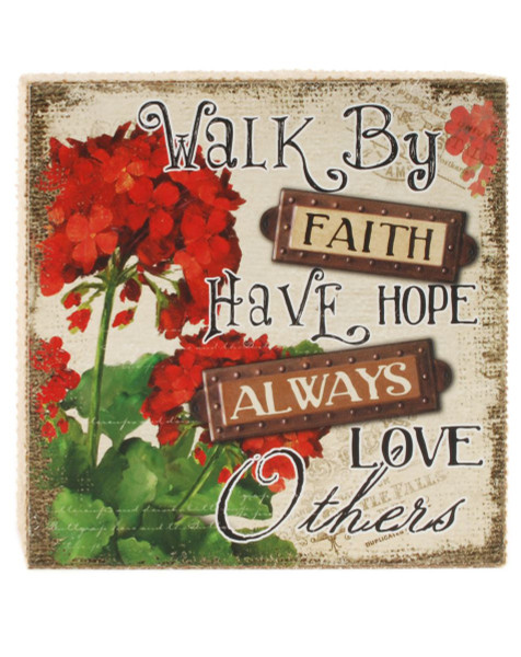 153-71486 Walk By Faith Floral Wall Box Sign - Pack of 5