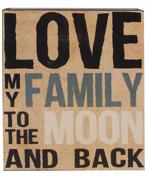 154-37272 Love My Family To The Moon Wall Box Sign - Pack of 4