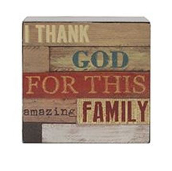 161-37481 Blossom Bucket Thank God Family Wall Box Sign - Pack of 8