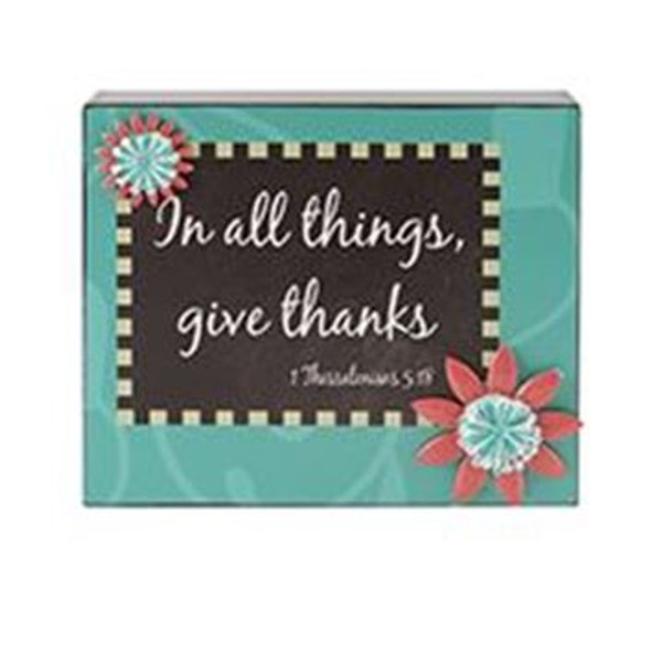 161-37511 Blossom Bucket Give Thanks Wall Box Sign - Pack of 6
