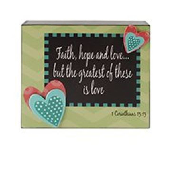 161-37512 Faith / Hope / Love Wall Box Sign - Pack of 6