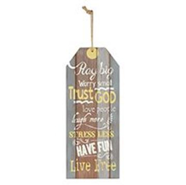 161-71962 Pray Big Worry Small Hanging Wall Sign - Pack of 6
