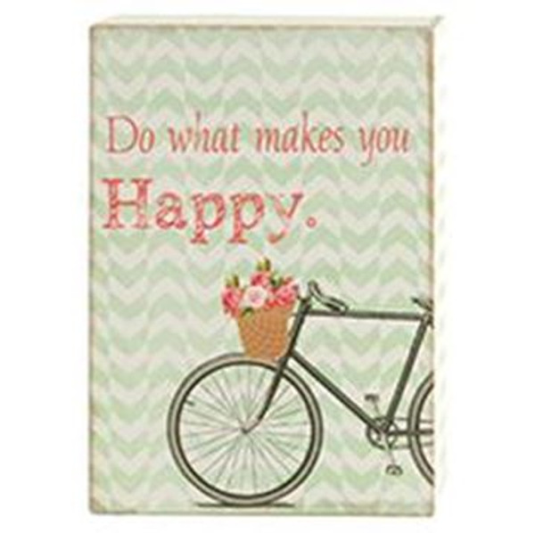 161-72036 Blossom Bucket Makes You Happy Sign With Bike - Pack of 7