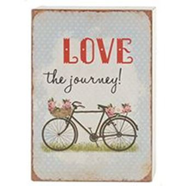 161-72037 Blossom Bucket Love The Journey Sign With Bike - Pack of 7