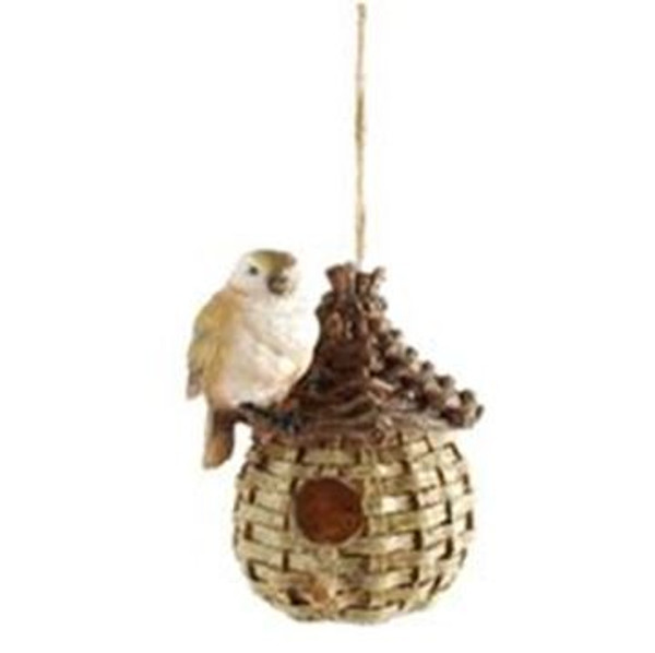 161-72178 Blossom Bucket Hanging Birdhouse With Bird - Pack of 3