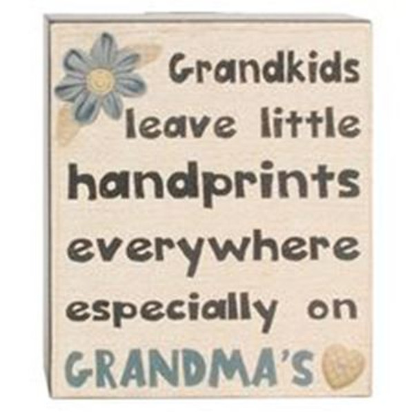 164-37824 Grandkids Leave Handprints Wall Box Sign - Pack of 6