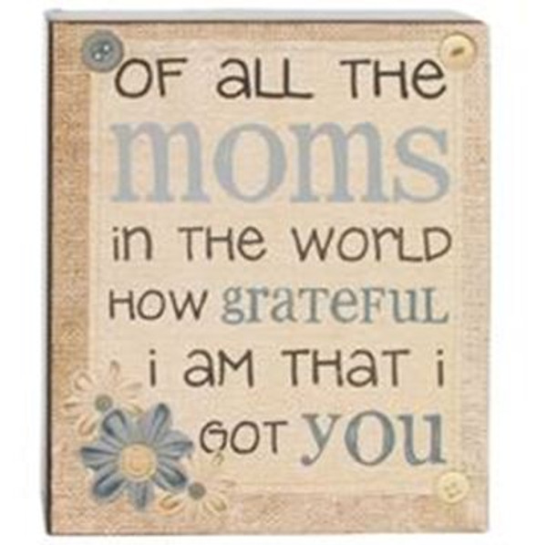 164-37827 Blossom Bucket Mom's Grateful Wall Box Sign - Pack of 6