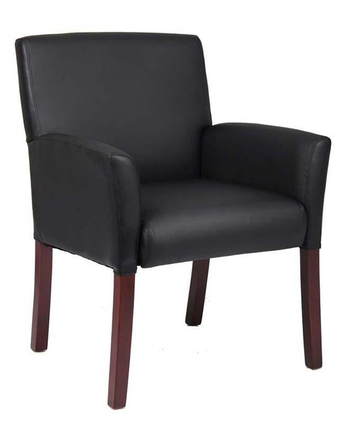 B619 Boss Box Arm Guest Chair With Mahogany Finish