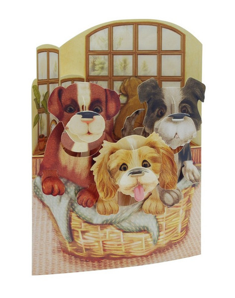 Boston International 3 Puppies in a Basket Display Swing Card (Set of 12) SSC150D