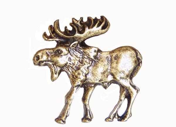 002-AB Walking Moose Left Facing Cabinet Knob - Antique Brass