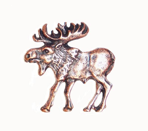 002-AC Walking Moose Left Facing Cabinet Knob - Antique Copper