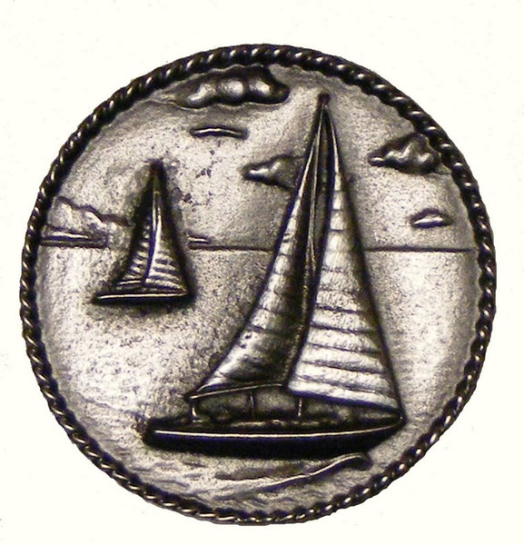028-P Sail Boats in Round Cabinet Knob - Pewter by Buck Snort Lodge
