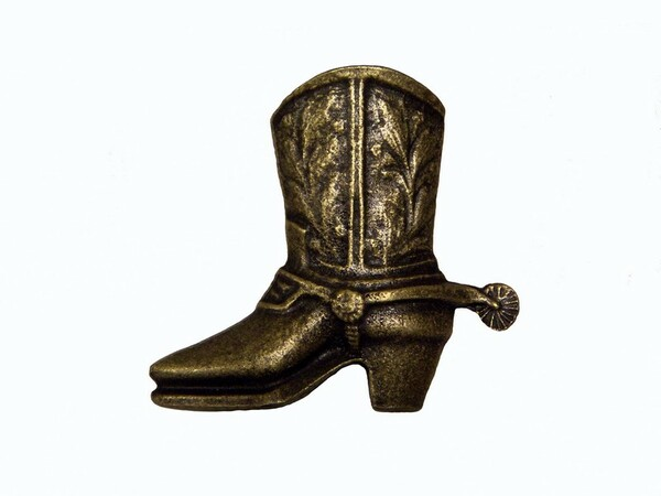 042-AB Cowboy Boot Left Facing Cabinet Knob - Antique Brass