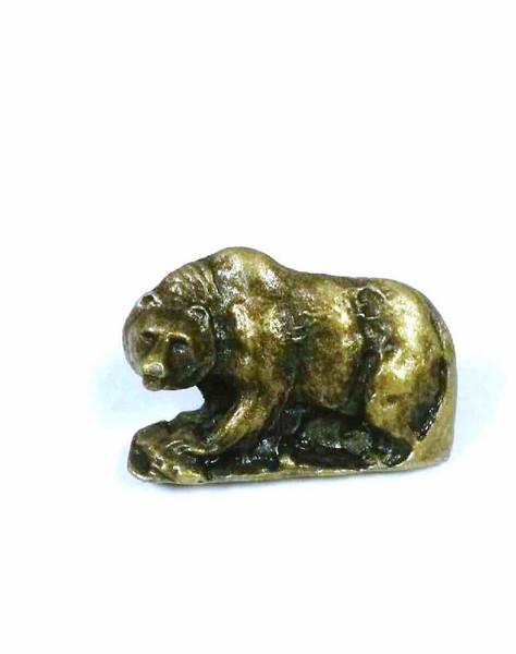 044-AB Walking Bear Cabinet Knob - Antique Brass by Buck Snort Lodge