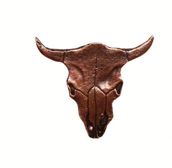 045-AC Steer Skull Cabinet Knob - Antique Copper by Buck Snort Lodge