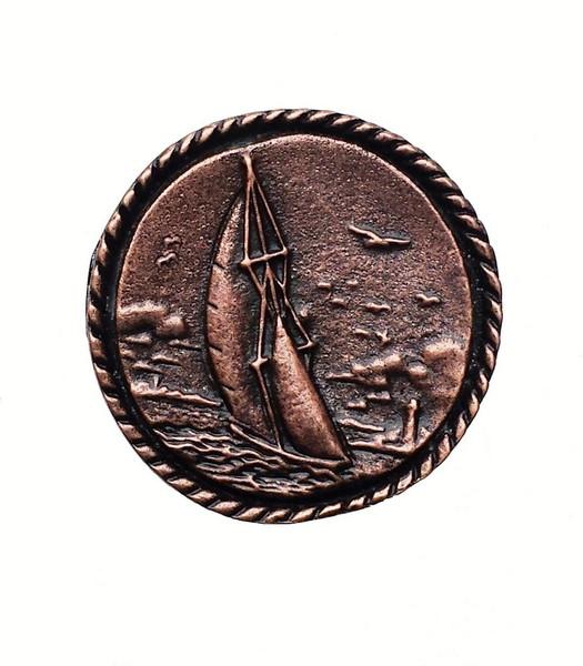 048-AC Round Small Sailboat Cabinet Knob - Antique Copper