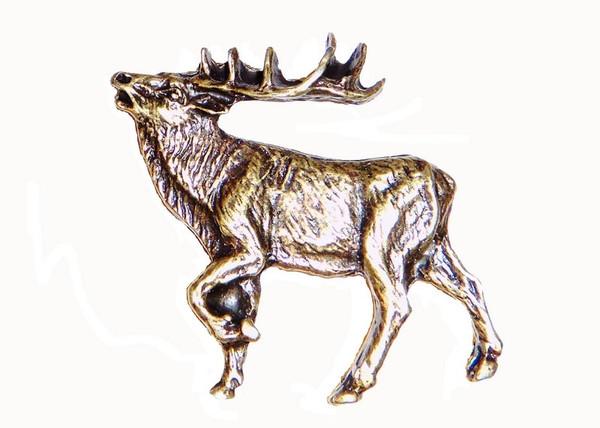 051-AB Walking Elk Left Facing cabinet Knob - Antique Brass