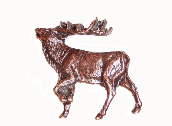 051-AC Walking Elk Left Facing cabinet Knob - Antique Copper