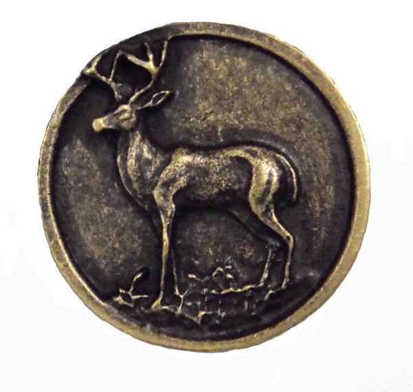 052-AB Whitetail Round Deer Cabinet Knob - Antique Brass