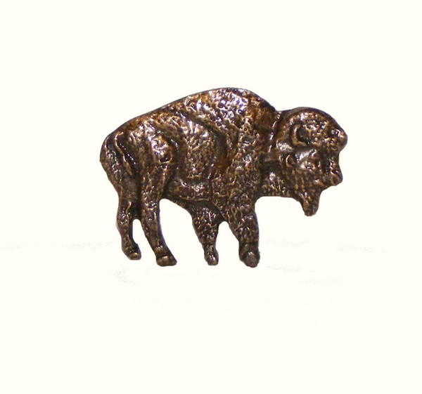 055-AB Standing Buffalo Cabinet Knob - Antique Brass
