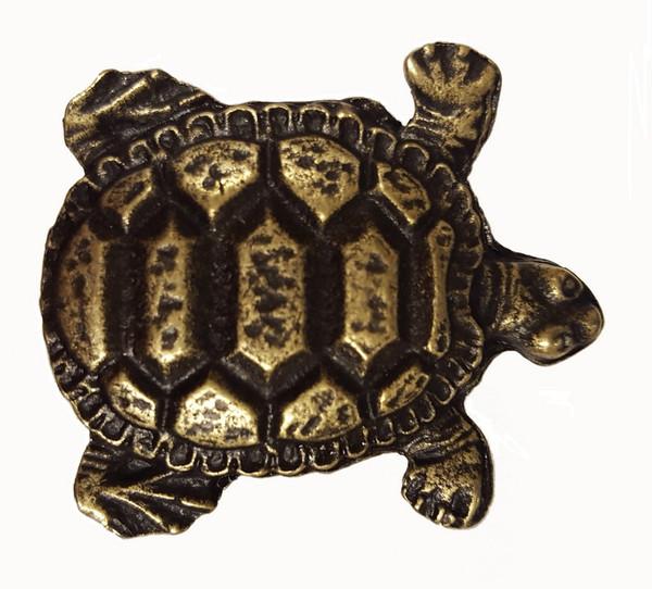 111-AB Turtle Cabinet Knob - Antique Brass by Buck Snort Lodge