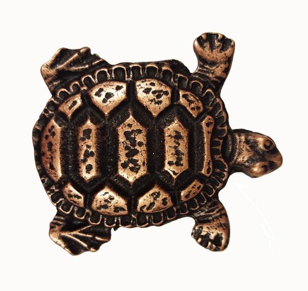 111-AC Turtle Cabinet Knob - Antique Copper by Buck Snort Lodge