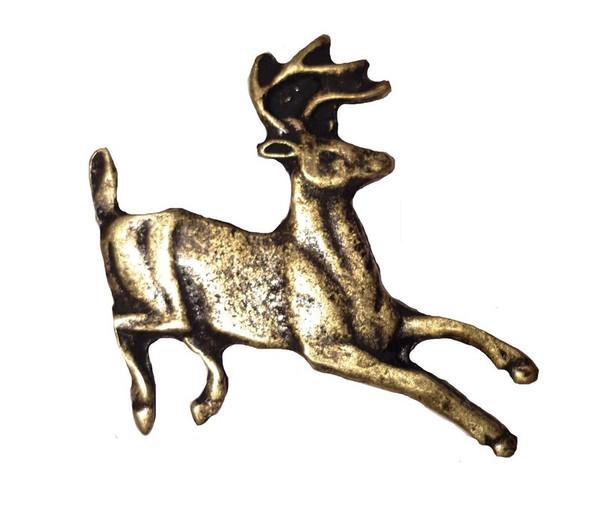 128-AB Running Whitetail Deer Cabinet Knob - Antique Brass