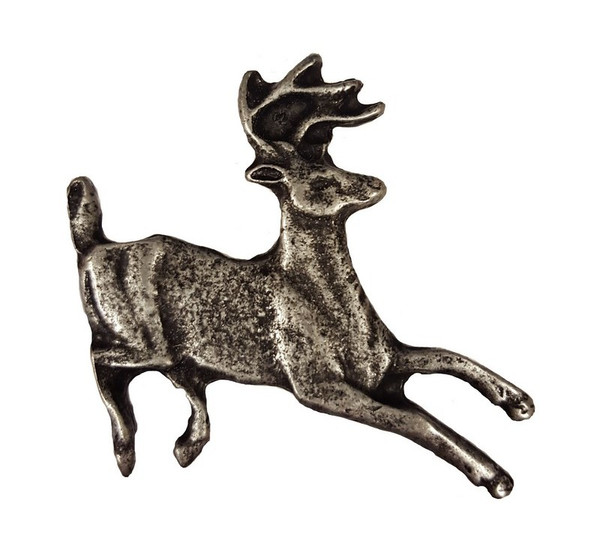 128-P Running Whitetail Deer Cabinet Knob - Pewter by Buck Snort Lodge