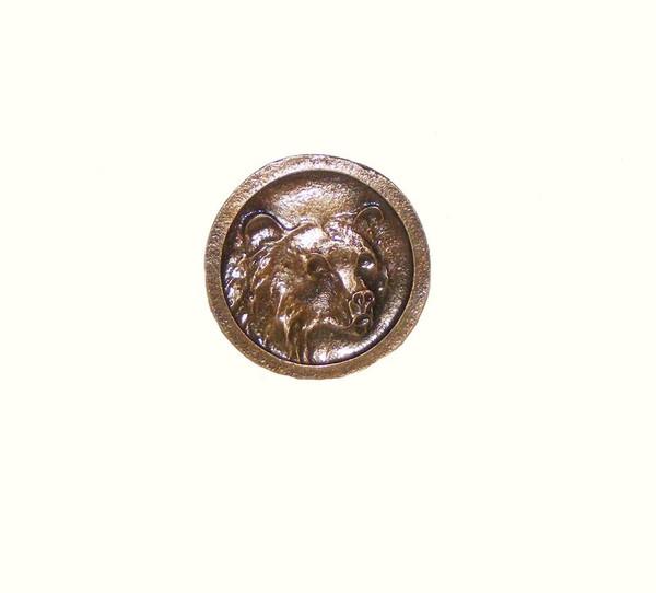 172-AB Round Bear Head Cabinet Knob - Antique Brass