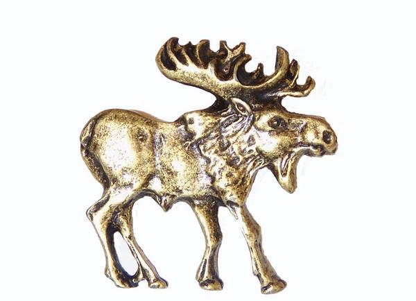 183-AB Walking Moose Right Facing Cabinet Knob - Antique Brass