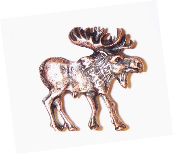 183-AC Walking Moose Right Facing Cabinet Knob - Antique Copper