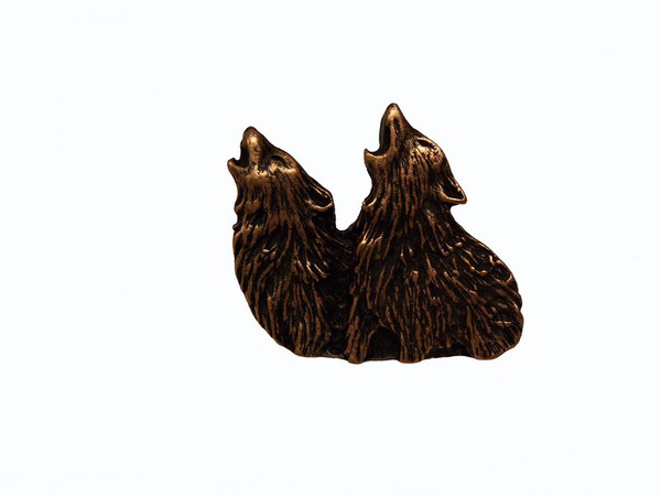 184-AC Dual Howling Wolf Cabinet Knob - Antique Copper