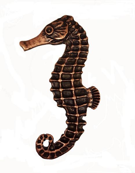 235-AC Large Seahorse Left Facing Cabinet Knob - Antique Copper