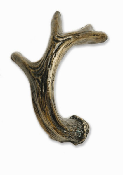 239-AB Antler Right Facing Cabinet Knob - Antique Brass