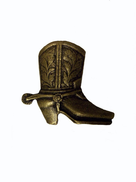 243-AB Cowboy Boot Right Facing Cabinet Knob - Antique Brass