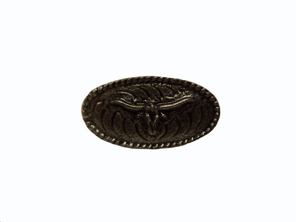 335-P Steer Oval Cabinet Knob - Pewter by Buck Snort Lodge