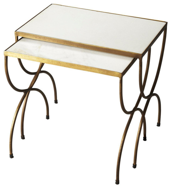 """Butler Bacchus Marble & Iron Nesting Tables 3309025 """"Special"""""""
