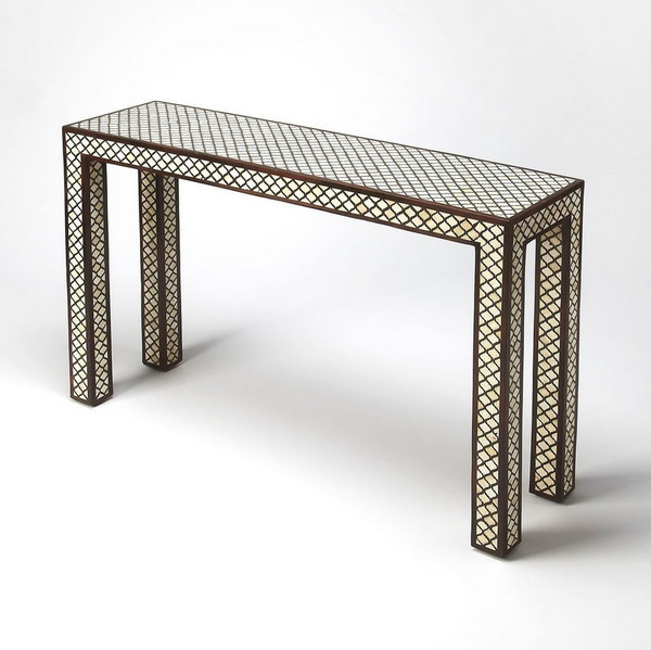"""Butler Basan Wood & Bone Inlay Console Table 6115338 """"Special"""""""